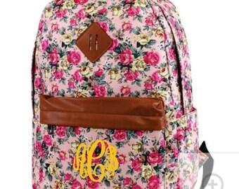 Monogram Light Weight Nylon Floral Backpack Pink