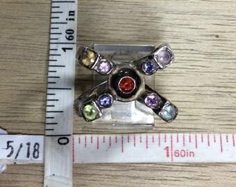 Vintage 925 Sterling Silver 13g Ring Size 7 Citrine Blue Topaz Iolite Garnet Amethyst Peridot Used