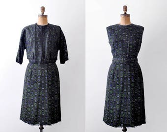 1960 dark green dress & jacket. m. 60's floral dress. sheath. belt. navy blue print.