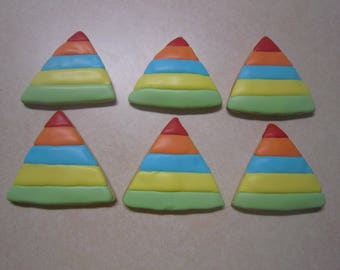 12 Triangle Hand Decorated Cookies