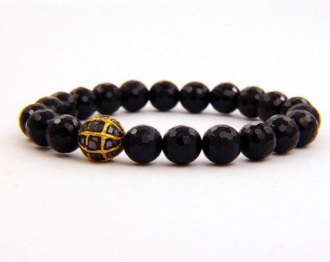 1.00 carat black diamond and natural black onyx bracelet