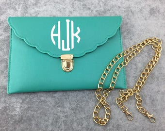 Monogrammed Scallop Envelope Clutch // Custom Clutch // Scallop Clutch // Custom Accessories // Monogram // Custom Clutch // Purse // Cute