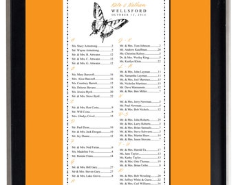 Monarch Butterfly Seating Chart, Digital, Botanical, Garden Table Assignment, Wedding, Choose sm, md, or lg  for approx. 130-300 guests