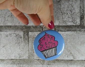Cupcake Bottle Opener Keychain, Pink and Blue or custom colors