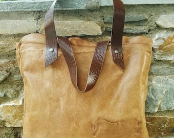 Antique Tan Leather Tote Bag, Tan & Brown Leather Pocket Tote, Camel Brown Leather Tote, Distressed Tan Leather Tote, Boho Tan Leather Tote