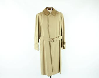 Mens BURBERRY Trench Coat 46R Lined Belted Nova Check