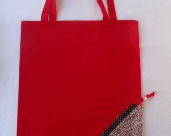 Tote Bag / eco-friendly tote bag / pouch - Brown and Red foldable bag