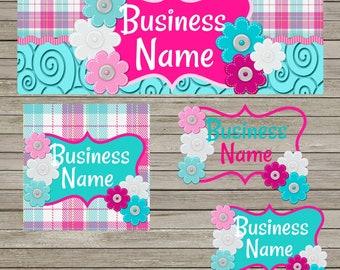 Shocking Pink & Aqua Facebook Business Set