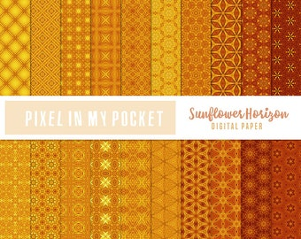 Yellow & Orange Sunflower Horizon Digital Patterned Paper Pack [Instant Download]
