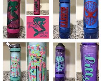 Personalized Contigo Water Bottles, Custom, customized, pink, purple, blue, green, fruit infuser