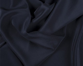 Navy Blue Silk Crepe de Chine, Fabric By The Yard