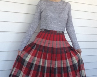 50s Plaid Pleated Skirt Red Off White Gray 1950s Vintage 27 Waist