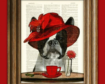 "Boston Terrier Art Print Dog with fancy hat ""Boston Tea Party"" Dictionary Page art print"