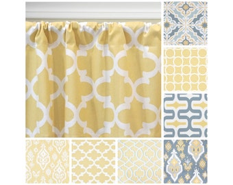 Pale Yellow Window Curtains.Yellow Grey Curtain Panels.Ikat Drapes.Yellow  Kitchen Curtains