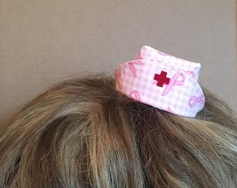 Mini hat - Nurse - Breast cancer awareness - pink ribbon