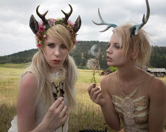 Moss and Flower Nymph Fawn Mini Antler & Ear Headband