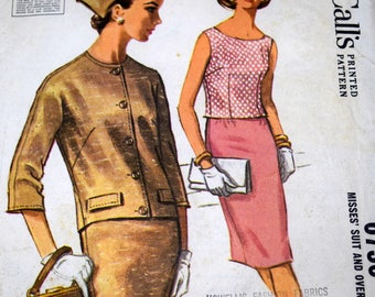McCalls 6736 Suit and Overblouse Sewing Pattern, Size 12 Bust 32, 1960s Suit, Uncut
