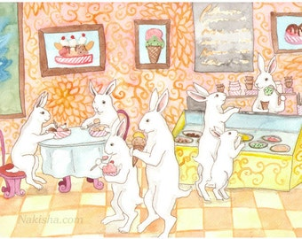 Fine Art Rabbit Print - Ice Cream Paror