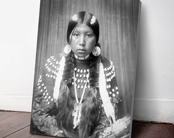 Native American Indian Canvas Print, Kalispel Indian Woman ca. 1910, Indigenous Americans, American Indian, indigenous people, NA53C