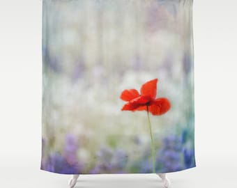 Fabric Shower Curtain  - I Wish - Nature, flower, red poppy, lavender field, purple, Photography, RDelean