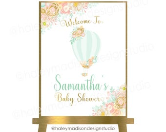 Hot Air Balloon Welcome sign, Floral Hot Air ballon baby shower sign, Pink and gold hot air balloon, Girl baby shower, PRINTABLE FILE HM456