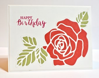 Handmade Birthday Card / Rose Card / Handmade Greeting Card / Flower Card / Stampin Up Card / Birthday Greeting Card / Romantic Elegant Card