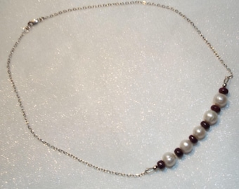 Freshwater pearl and ruby necklace with silver chain