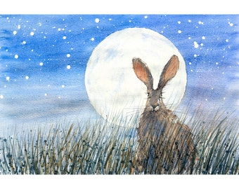 "HARE painting ART PRINT moon hare pictures bunny art rabbit print wildlife wall art plus rabbit drawings hare pictures 21x29cm (8x11.5"")"