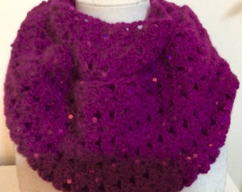 Purple Crocheted infinity Scarf with Sequins, Sequined Circle Scarf, Magenta Loop Scarf, Crocheted Eternity Scarf, Fuschia Infinity Scarf
