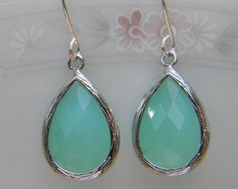 Mint Earrings - Aqua Blue Earrings - Silver Wrapped Glass Teardrop - Bridesmaids Jewelry, Bridal Jewelry, Wedding Jewelry