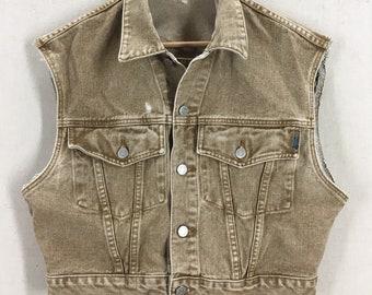 Vintage Women's GUESS Brown Denim Vest Jacket Sz Small USA