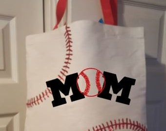 MOM Baseball Tote -Baseball Game Tote - LOVE Baseball - Moms Baseball Bag - Moms Baseball Tote - Customized Tote -  Tote For baseball Game