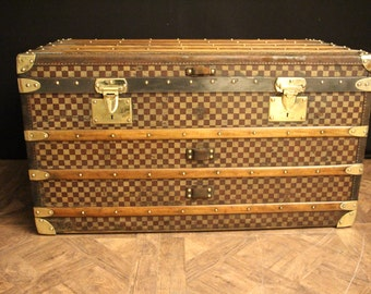 1930's Moynat Checkers Steamer Trunk