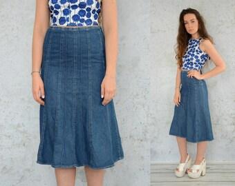 "High waisted 90's Skirt Jean denim vintage maxi 1990's Navy Blue M Medium size 29"" waist"