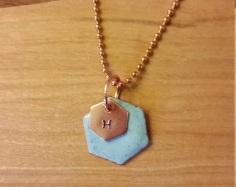 Robin's Egg Blue Torch-Enameled Hexagon Copper Pendant on 20 Inch Chain with Gift Box