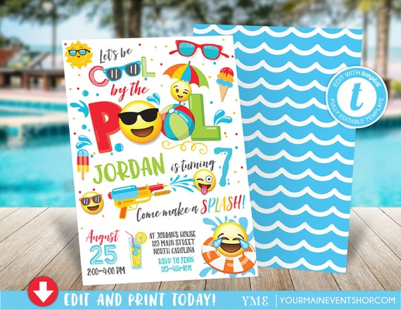 Boy Emoji Pool Party Invitation Pool party birthday invitation Boy Emoji Pool Party party invitation Cool by the Pool Summer Swim Party