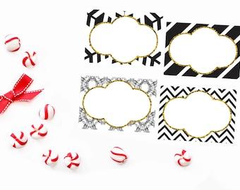 Digital Christmas Gift Tags - Black and White Christmas Gift Tags - Holiday Gift Tags - DIY Holiday Gift Tags - Printable Christmas Tags