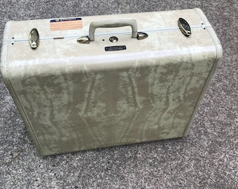 1950's Samsonite Ivory marbled Suitcase with garment Rack