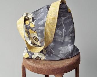 Yellow Grey Dragonfly Bag - 2 Pockets - Woodland