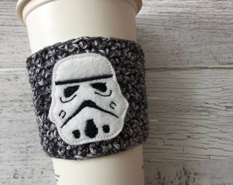 Space Robot Cup Cozy, Crochet Coffee Cozy, Coffee Sleeve, Drink Sleeve, Teacher Gift, Gift under 10, Party Favor