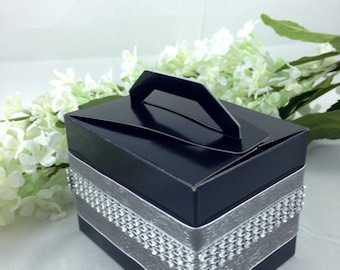 20 Black cake/favor boxes with Silver ribbons and rhinestones, Wedding, Birthday, Party Favor, Cake Box, Favor Box