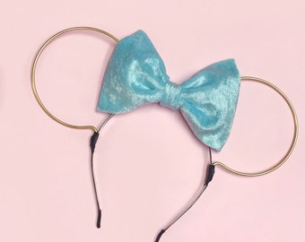 Pale Blue Velvet Bow and Gold Wire Mouse Ears Headband