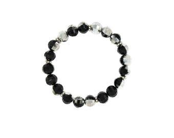 Black and Silver Disco Ball Beaded Stretch Bracelet