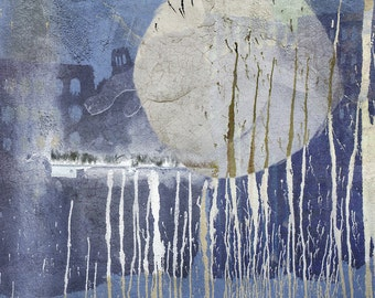 Large, giclee print, 11x14, digital collage, abstract, Super Moon