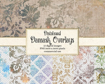 Distressed Damask Overlays, PNG Overlay clipart, vintage aged decoupage graphics, decoupage digital paper overlays, grungy grunge textures