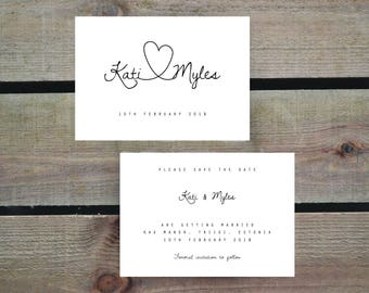 PRINTABLE Save the Date PDF - Personalised Simple Calligraphy Heart Wedding Save the Date - DIY Digital Download Only