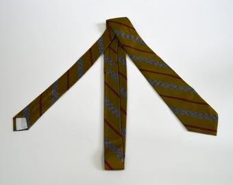 Vintage 1960s Gold Red and White Stripe Skinny Necktie