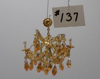 1:12 Scale Crystal Teardrop Chandelier Dollhouse Miniature