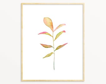 Watercolor Botanical Art Print. Soft Pink & Yellow Watercolor Plant Painting. Minimalist Botanical Art. Zen Nursery Nature Art. Vintage Art.