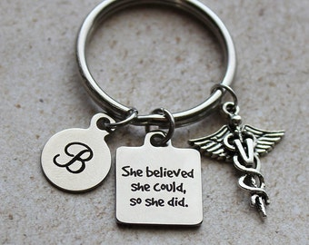 She Believed She Could So She Did Veterinary Keychain - Veterinary Gifts, Gifts for Veterinarians, Veterinarian Gifts, Animal Lover Gifts